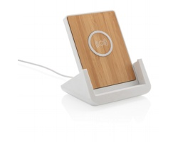 Plastovo bambusový bezdrátový stojánek na telefon UTERI s bezdrátovou nabíječkou - bílá