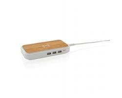 Bambusová bezdrátová nabíječka SCALP se 3 USB výstupy - hnědá / bílá