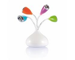 USB rozbočovače EDMUND s LED světlem - bílá