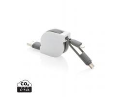 Plastový svinovací USB kabel SHIGA, 3v1 - bílá