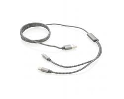 Opletený USB kabel CEDAR s koncovkami pro Android i iOS - šedá