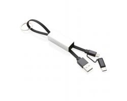 Přívěsek USB kabel DAMNA, 3v1 - černá / stříbrná