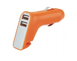 Duální nabíječka do auta BREAK s nožem na pásy a kladívkem - oranžová / stříbrná