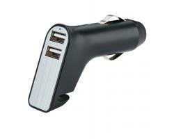 Duální nabíječka do auta BREAK s nožem na pásy a kladívkem - černá / stříbrná