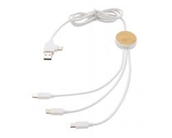 Plastový nabíjecí kabel 6v1 PLUCK, 1,2 m - bílá