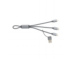 Textilní pletený nabíjecí kabel SPLIT, 4v1 - šedá