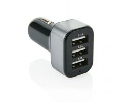 Plastová autonabíječka ABSARAKA, se 3 USB porty - černá / šedá