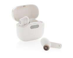 Plastová bezdrátová sluchátka SONGS ve sterilizační nabíjecí krabičce - bílá