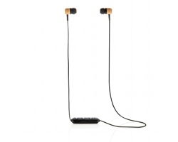 Bambusová bezdrátová sluchátka HAJJI v EKO pouzdře - hnědá / černá