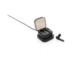Bezdrátová bluetooth sluchátka do uší DOCS s pouzdrem a bezdrátovou nabíječkou - černá