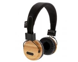 Bambusová bezdrátová EKO sluchátka DRUBS - hnědá / černá