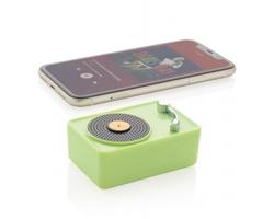 Plastový bezdrátový reproduktor WADDELL ve tvaru gramofonu - zelená / černá