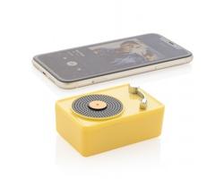 Plastový bezdrátový reproduktor WADDELL ve tvaru gramofonu - žlutá / černá