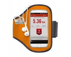 Neoprenové sportovní pouzdro na chytrý telefon RATES pro připevnění k paži - oranžová