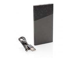 Značková powerbanka Swiss Peak FILCH s textilní kabelem - černá