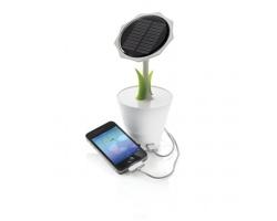 Solární nabíječka EBONIE ve tvaru slunečnice, 2500 mAh - bílá / zelená