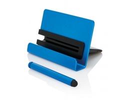 Hliníkový stojánek na mobilní telefon SALVADOR se stylusem - modrá