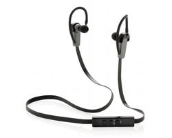Značková sluchátka typu pecky Swiss Peak METRO s klipy za uši - černá