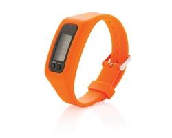 Silikonový sportovní náramek PERI s krokoměrem - oranžová