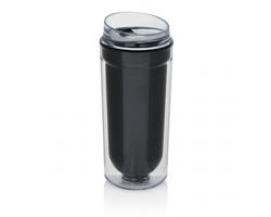 Plastový dvouplášťový hrnek LURKS, 400 ml - černá