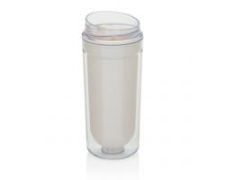 Plastový dvouplášťový hrnek LURKS, 400 ml - bílá