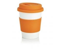 Cestovní hrnek BIOG z ekologického materiálu - oranžová / bílá