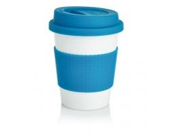Cestovní hrnek BIOG z ekologického materiálu - modrá / bílá
