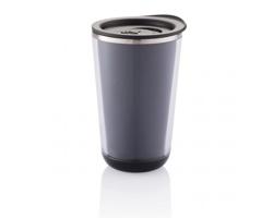 Nerezový dvouplášťový termohrnek PEON, 350 ml - černá
