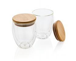 Sada dvou sklenic s bambusovým víčkem BARRE, 250 ml - transparentní
