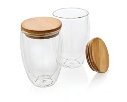 Sada dvou sklenic s bambusovým víčkem PARADES, 350 ml - transparentní