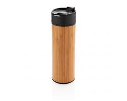 Nerezovo bambusový termohrnek TINES, 450 ml - hnědá