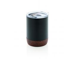 Vakuově izolovaný termohrnek ROUND s korkovým dnem, 180 ml - černá