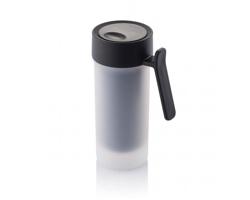 Plastový dvouplášťový hrnek PLANE, 275 ml - černá