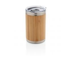 Nerezovo bambusový termohrnek na kávu TRIES, 270 ml - hnědá