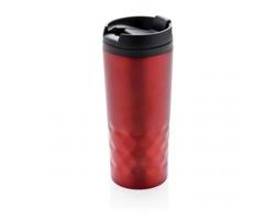 Nerezový termohrnek LIES s geometrickou texturou, 300 ml - červená
