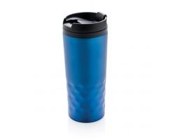 Nerezový termohrnek LIES s geometrickou texturou, 300 ml - modrá