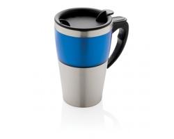 Nerezový cestovní hrnek TREVOR, 350ml - modrá / stříbrná
