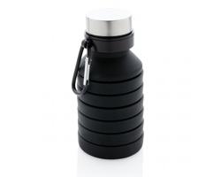Silikonová skládací lahev HIGDON s karabinou, 500 ml - černá