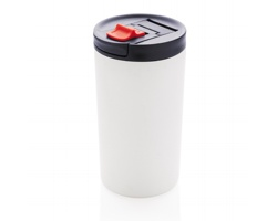 Kovový termohrnek SOFA s uzamykatelným otvorem na pití, 450 ml - bílá / modrá