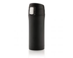 Nerezový termohrnek FUSSERS s funkcí otevírání jednou rukou, 300 ml - černá / černá