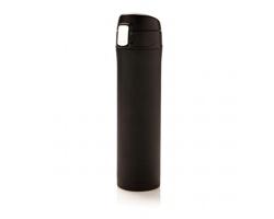 Nerezová dvouplášťová termoláhev BLEB s uzamykatelným víkem, 450 ml - černá / černá
