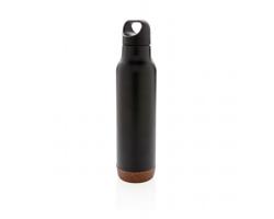 Nerezová termoláhev SLATS s korkovým detailem, 600 ml - černá