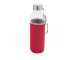 Skleněná lahev JOELLEN v neoprenovém obalu, 500 ml - červená