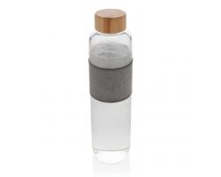 Skleněná lahev PENDS s bambusovým víčkem, kolekce Impact, 750 ml - transparentní / šedá
