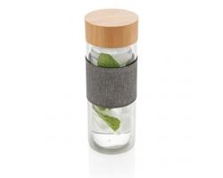 Skleněná dvoustěnná lahev CULLS s bambusovým víčkem, kolekce Impact, 750 ml - transparentní / šedá