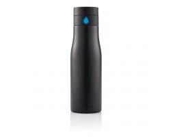 Nerezová lahev na pití GLENS s počitadlem pitného režimu, 650 ml - černá / modrá