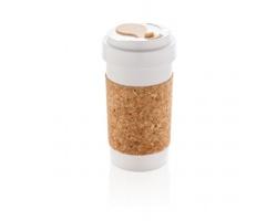 Ekologický cestovní hrnek DHOTI s korkem, 400 ml - bílá