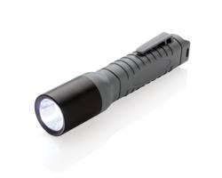 Plastová LED svítilna STATS s klipem na opasek - černá / šedá