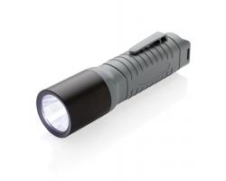 Plastová LED svítilna HENSLEY s klipem na opasek - šedá / černá