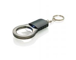 Ocelový přívěsek na klíče otvírák lahví FLUFF s barevným LED světlem - transparentní